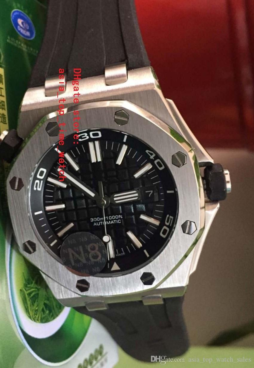 Lüks Yüksek Kalite İzle Paslanmaz çelik 42mm siyah Dial mekanik Şeffaf otomatik Mens Watch Saatler