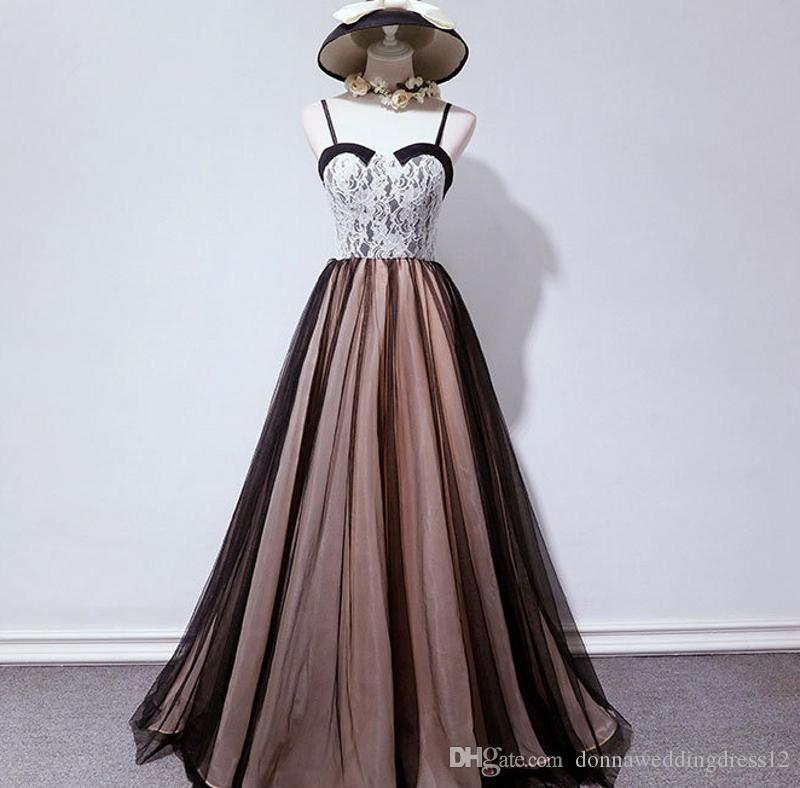 2019 Moda Üst Dantel Sweetheart sapanlar Tül Uzun Abiye Balo Elbiseleri A-line Biçimsel Parti Elbise Özel Durum Elbise Vestiods