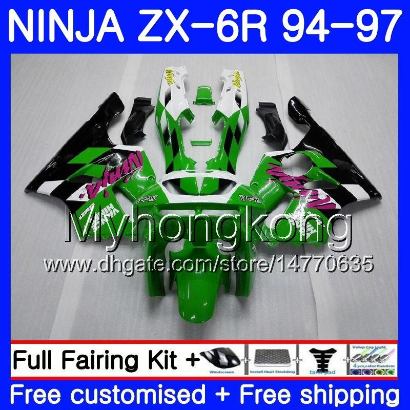 Lichaam voor Kawasaki ZX 636 600CC ZX6R 94 95 96 97 213HM.0 ZX600 ZX636 ZX 6R 94 97 ZX-6R 1994 1995 1996 1997 Valerijen Factory Green Blk