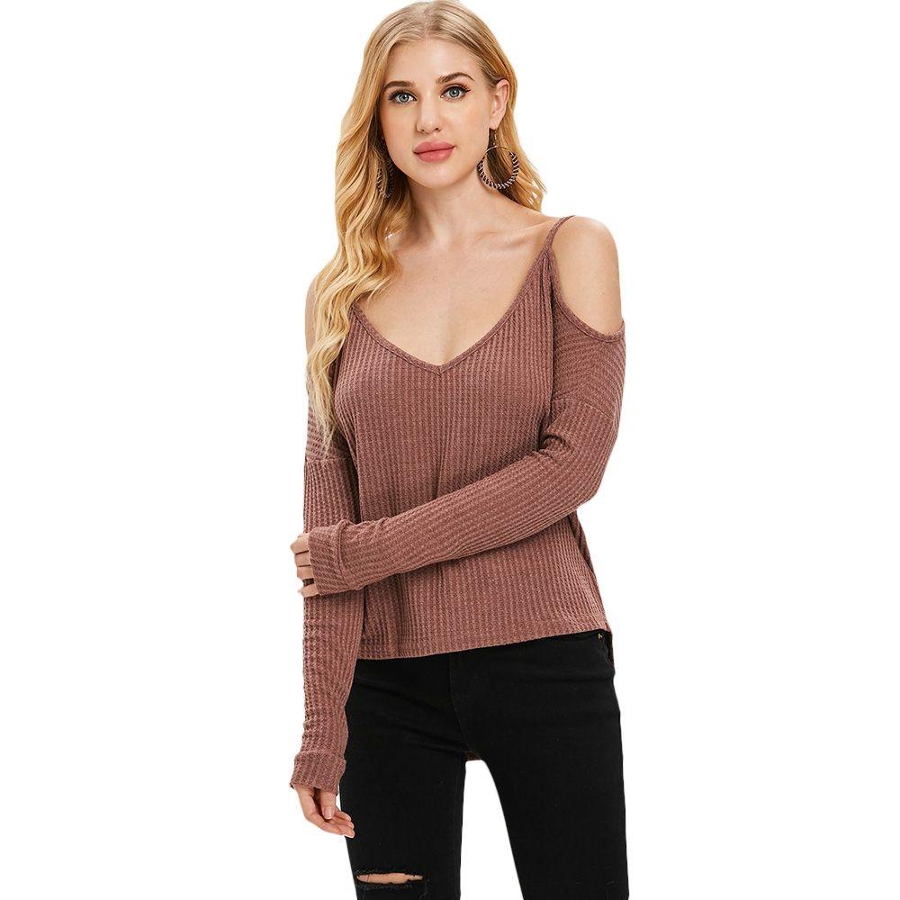Beiläufiger nagelneuer Weihnachtsstrickjacke für Frauen reizvoller losen V-Ausschnitt weg von der Schulter-langen Hülsen-Pullover-Strickjacke-Blusen-Oberseiten