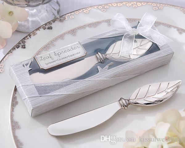 (20 Pieces/lot) Silver Wedding Favors and Gifts of Chrome Leaf Spreader Wedding Gift for guests For Autumn Wedding Theme