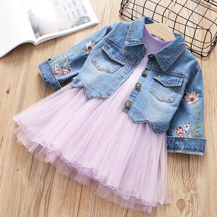 Nuevo conjunto de ropa de niñas 2pcs Jeans Coat y vestido Conjunto de patrón de flor precioso de moda y Vestido de princesa Style