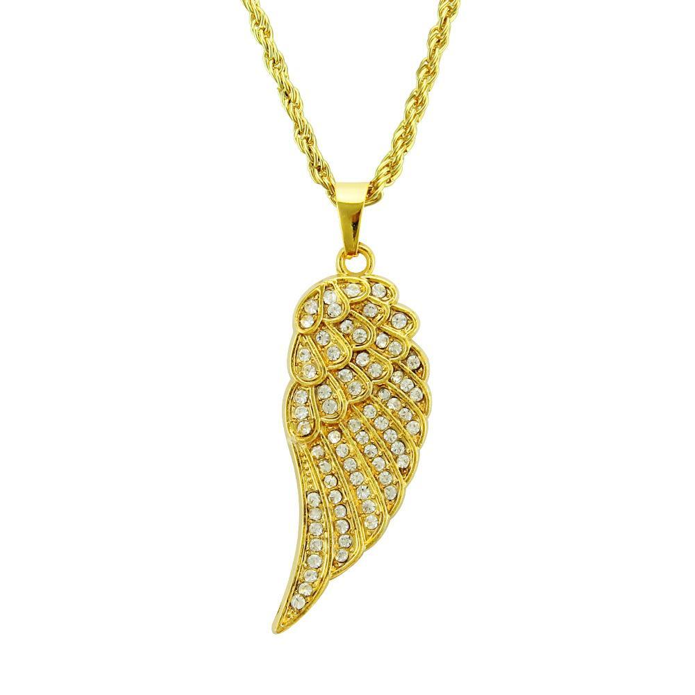 새로운 패션 천사 날개 힙합 랩 스타일 펜던트 목걸이 크리스탈 다이아몬드 창조적 인 간단한 긴 체인 목걸이 도매 크리스마스 선물