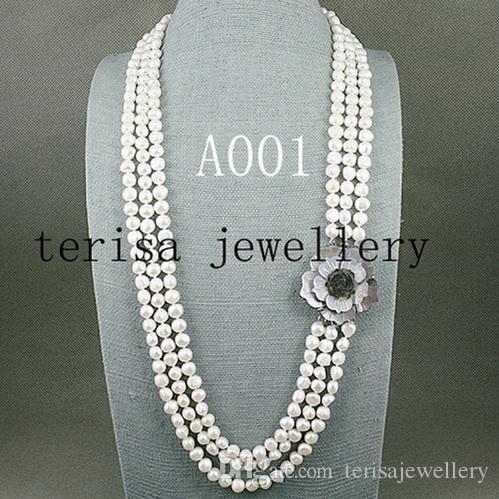 NEUE ANRANKE Natürliche Perlenschmuck, Weiße Farbe 3 Reihen Süßwasserperlenkette, Nizza Muschelblumenschließe, Freies Verschiffen