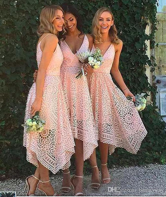 2019 New Bridesmaid Dresses Tea-Length Blush Pink Navy Blue Lace Irregular Hem V Neck Maid of Honor Country Wedding Party Guest Gowns