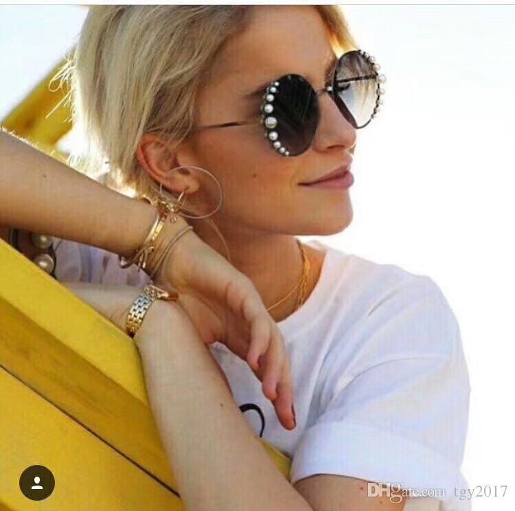 Brand-qualityH0288S künstliche Perlendekoration Sonnenbrille Gradienten Spiegel anti-UV400 Metall weibliche Sonnenbrille Voll Satz Fall OEM Auslass