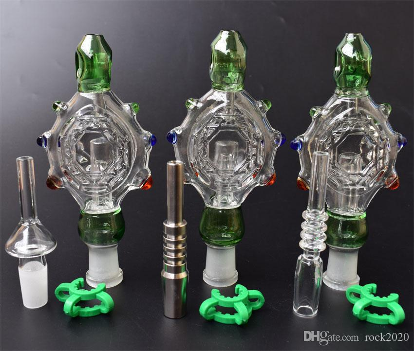 2020 Nectar Collector Kit Perc Pingentes Kit com 14 milímetros de titânio prego Quartz Dica Wearable Vidro Cachimbos plataforma de petróleo de vidro Bongs