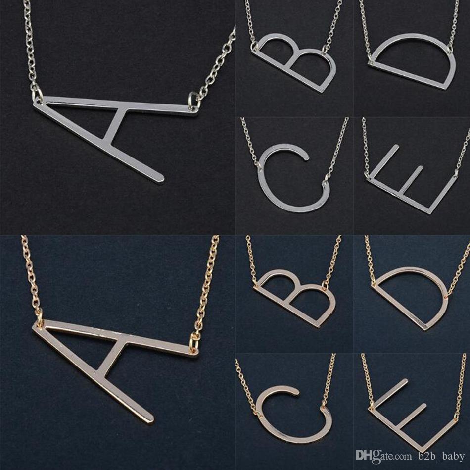 26 Alphabet Anglais Lettre Pendentif Dame Collier En Métal A-Z Choker Chaîne Colliers Sliver Or Bijoux Cadeau OOA4421