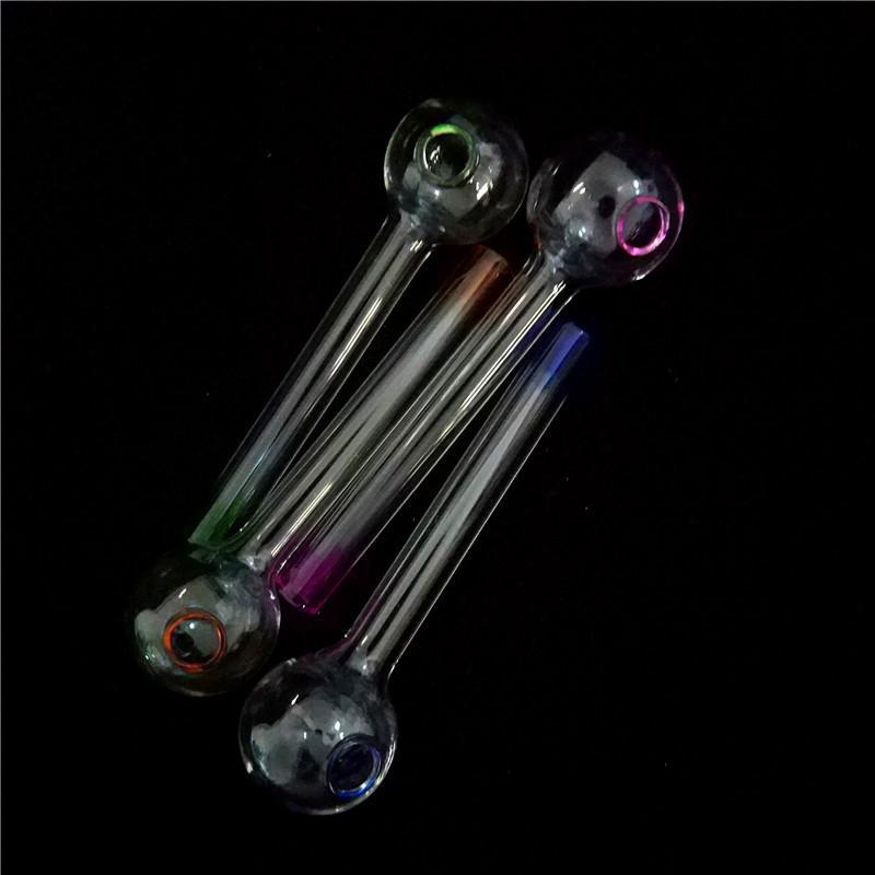 Melhores Artesanato pirex de vidro queimador de óleo Tubo Mini Pipes mão Fumar de Vidro Grosso Tubulação de petróleo da tubulação coloridos para dab bong de vidro plataforma de petróleo