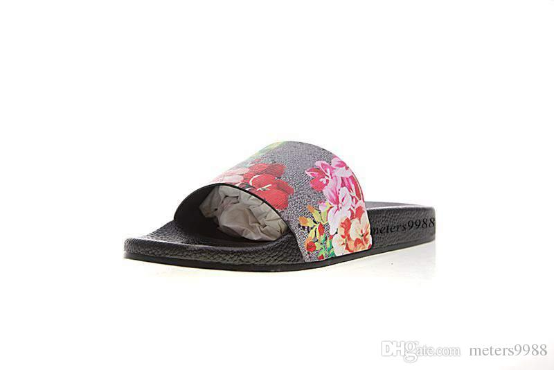 fashion red pink flower blooms print Slide sandals mens and womens causal beach slippers indoor flats flip flops with box