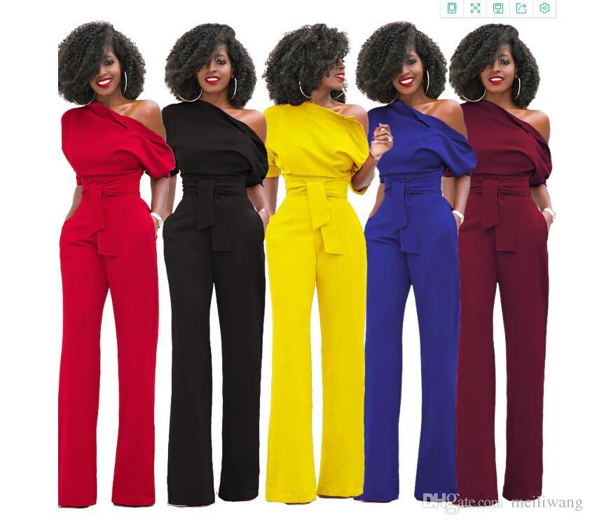 Jumpsuit oblicuo del hombro al por mayor de la manera Casual Set 7 colores wholeslae precio Mujer sudaderas top women clothing