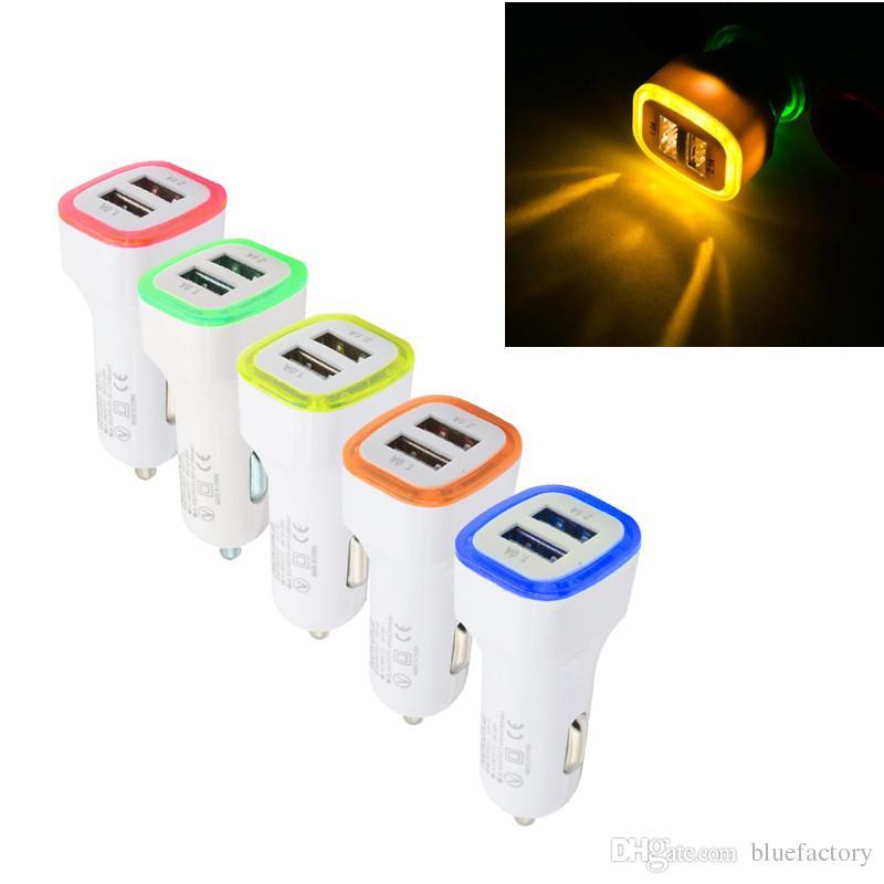Led Light Автомобильное зарядное устройство 5 В 2.1A Dual USB Порты Чаринг-адаптер для iphone X 8 Plus Samsung S9 HTC Смартфон Планшетный ПК Универсальный