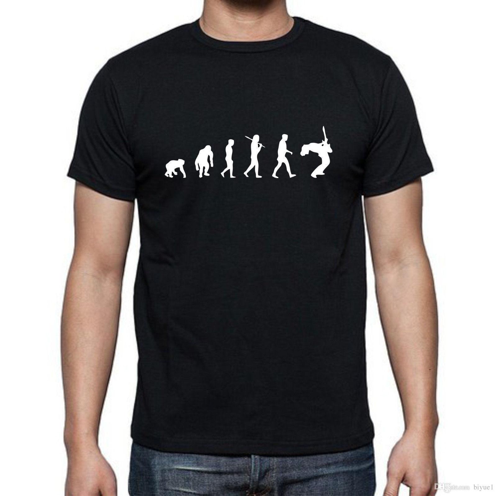 Evolución del guitarrista Musiscian Guitar Sing T-shirt todos los tamaños y colores Manga T Shirt Summer Men Tee Tops Ropa