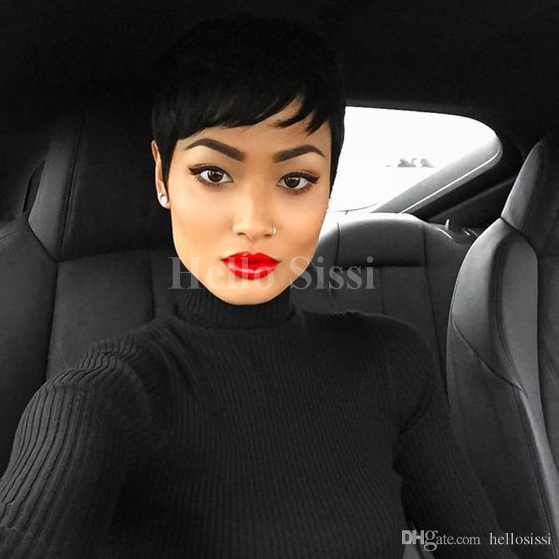 100% Human Real Hair Longer Pixie Cuts Wig Short Cut Layered Wigs For Black Women Popular Hairstyles Glueless Black Bob Wigs
