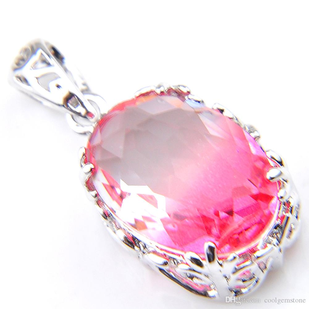12 pcs/lot Luckyshine 925 silver Oval Sweet Pink Bi-Colored Tourmaline Gemstone Silver lady Engagement Necklace Pendants