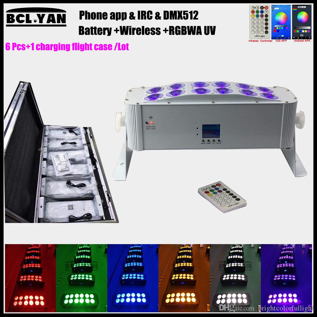 New easier operate Wifi phone & IR remote & Wireless dmx512 battery powered led wall washer 12*18w rgbwa uv 6 in 1 led uplights