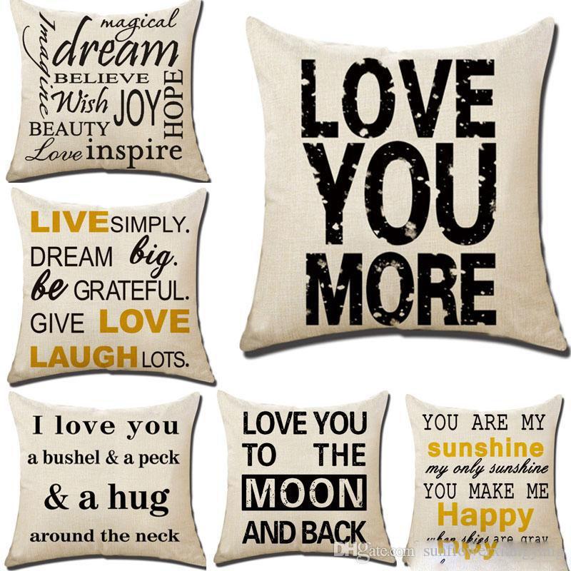 2019 te amo mais travesseiro caso linho carta lance fronha capa de casa sofá do carro capa de almofada home decor xmas (18 * 18 polegada) 17 projetos