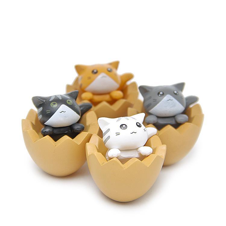 Diy Kawaii Яичная скорлупа Игрушки для Кошек Миниатюрные Симпатичные Животные Кошка Кукла Дети Подарки На День Рождения Ремесло Статуэтки Японских Животных ПВХ Рисунок 3 см