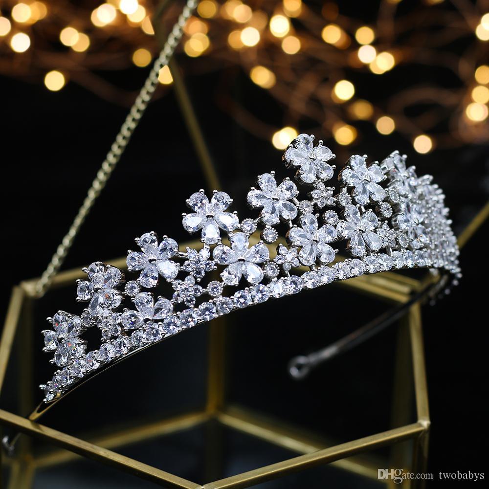 Luxus-Hochzeit braut Zirkon Krone Prinzessin Königin Parade Ball Diamant Rhein yarra Hochzeit Kopfbedeckung Haarschmuck