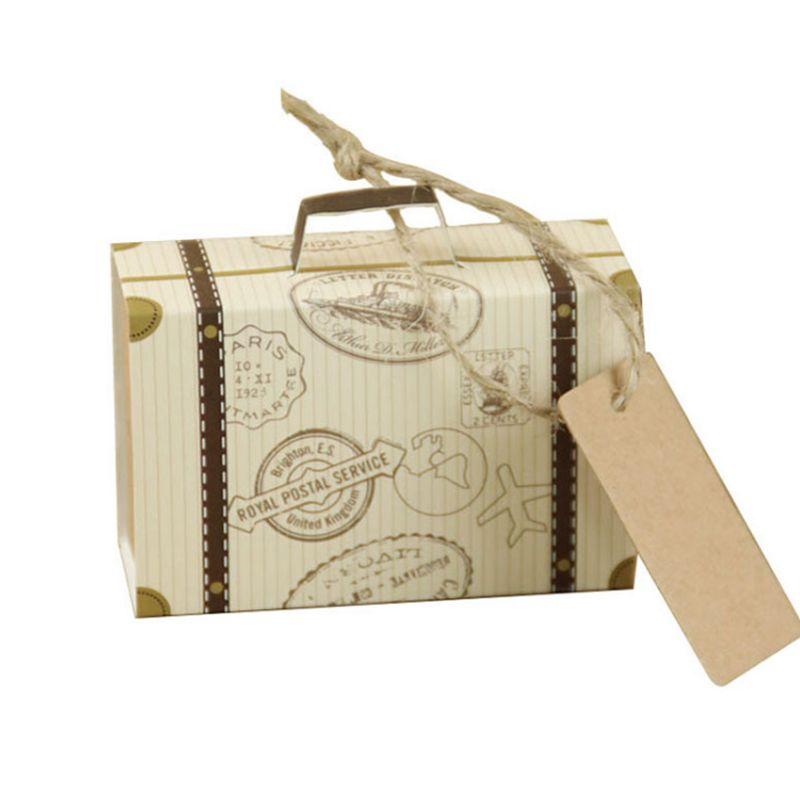 Kraft Wedding Travel temáticas cajas de regalo Maleta del favor del partido Kraft Candy Boxes fiesta de cumpleaños estilo elegante