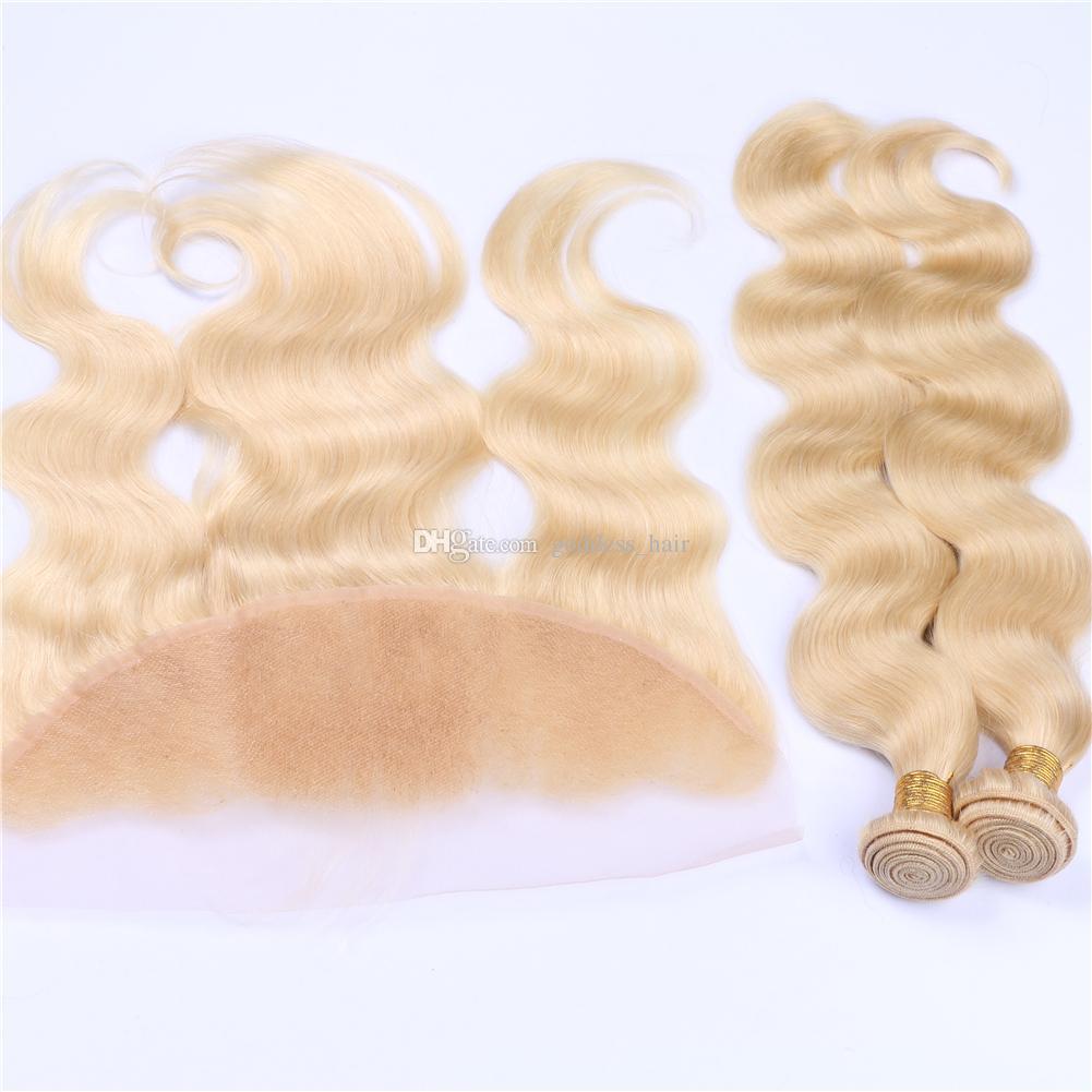 Blench Blonde Body Wave Hair teje 3 paquetes con encaje Forntal Blonde 613 Body Wave pelo ondulado con frontal de oreja a oreja