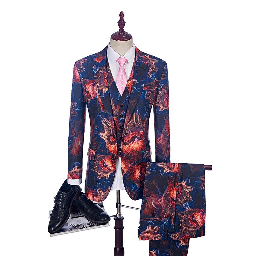 2018 Moda Fiamma modello uomo vestito casual abiti da uomo Fase Vintage Clothing Mens stampato Prom (Blazer + Vest + Pant)