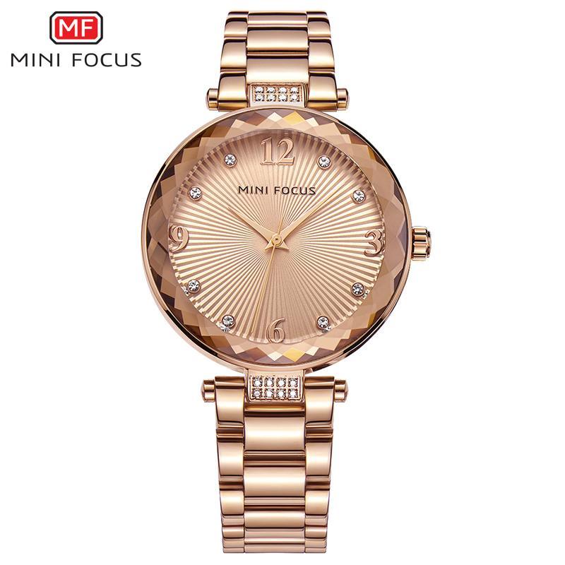 MINIFOCUS Reloj de mujer de moda con correa de cuero Rhinestone Girl Gold Watch Reloj de cuarzo con movimiento japonés famoso para mujer MF0038L