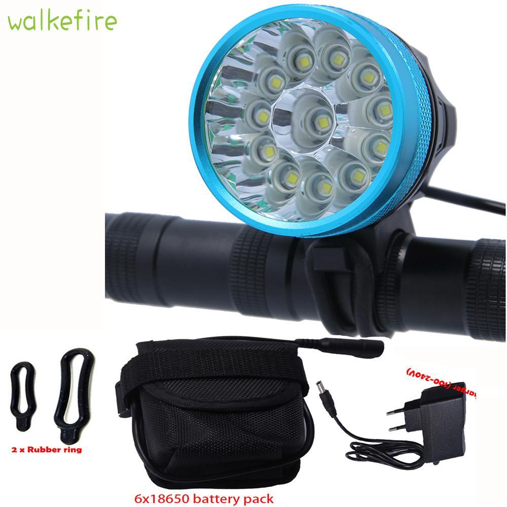 Luzes de bicicleta Walkfire Waterproof Light Feadlamp 20000 Lumens 12 x XML T6 LED Bicicleta Cabeça de Ciclismo + 18650 Bateria + Carregador