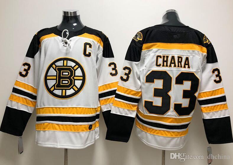 New Boston Bruins chandails # 33 Chara 2018 nouveaux maillots de hockey blanc et noir couleur taille M-XXXL Ordre de mélange de haute qualité Football tous les maillots