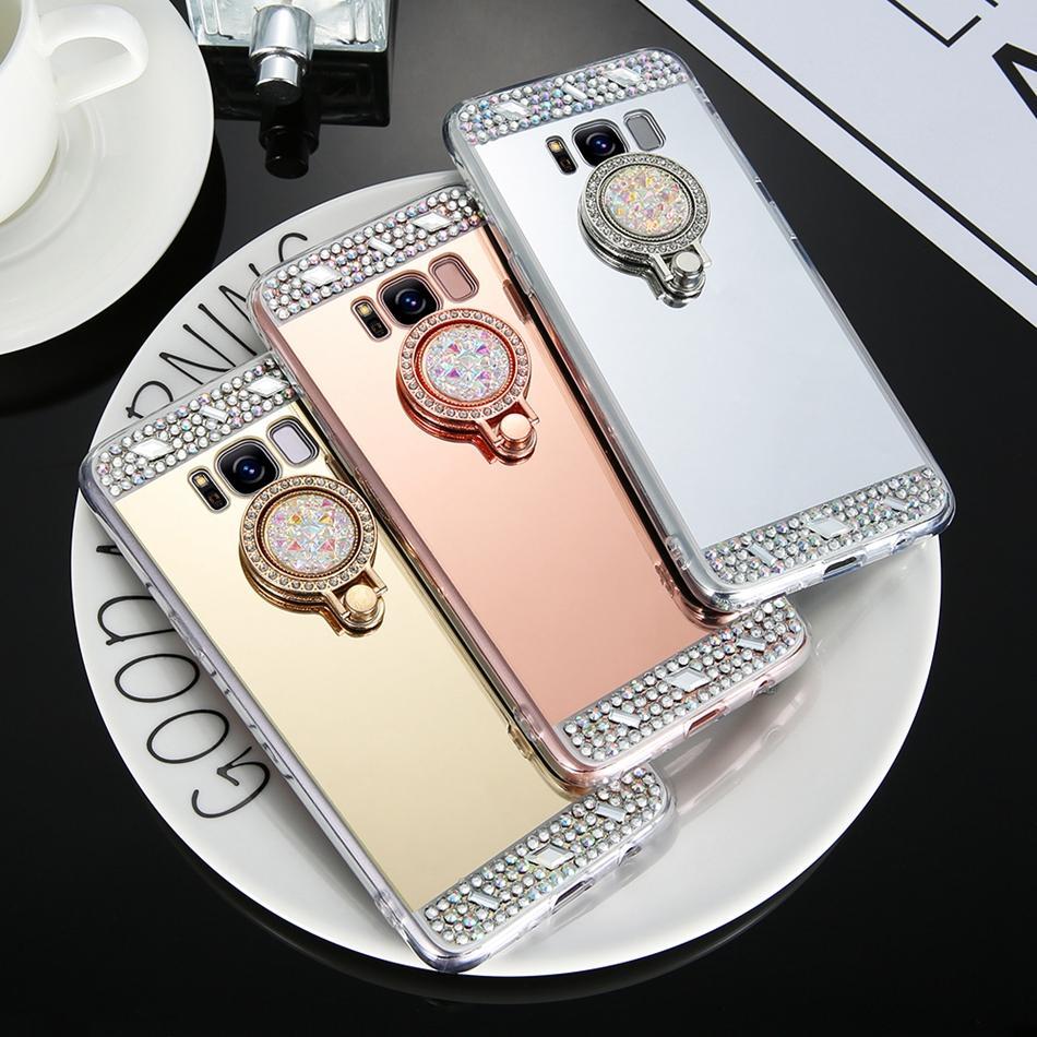 Diamond Bling Mirror Ring Holder Case For Samsung Note 9 8 S9 S8 S7 S6 Edge Plus S5 S4 A3 A5 A7 J3 J5 J7 2016 2017 2018 Cover Case Shell