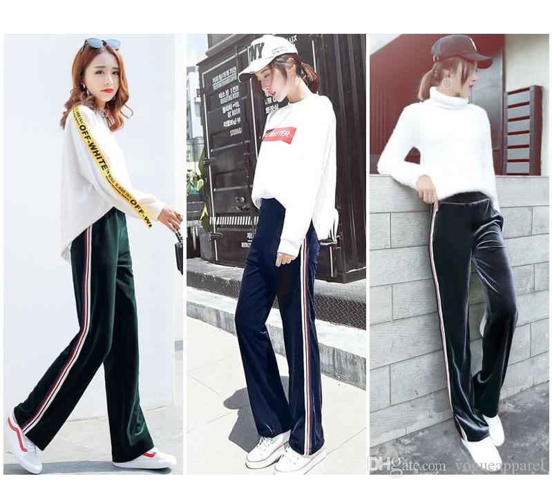 Women Clothing Winter Sexy velvet Pants Fashion Wide Leg Joggers Comfortable Red Black Active Pants Free Shipping