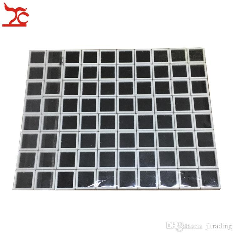 80Pcs Plastic Square Loose Diamond Display Package Box White Gem Case Black Memory Foam Pad Beads Pendant Box Showcase 3*3*2cm