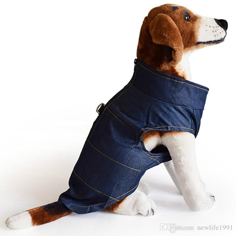 Pet Denim Vest Clothing 2018 New Puppy Casual Shirt Dog Cat Fashion Zipper and Traction Button Pets Spring Summer Wear Clothes Free Ship