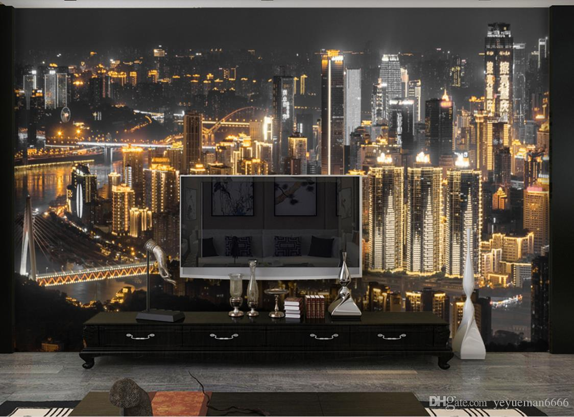 Custom 3d Photo Wallpaper Fashion City night scene Wallpaper For Living Room Bedroom Home Decor TV Backdrop Wall Murals