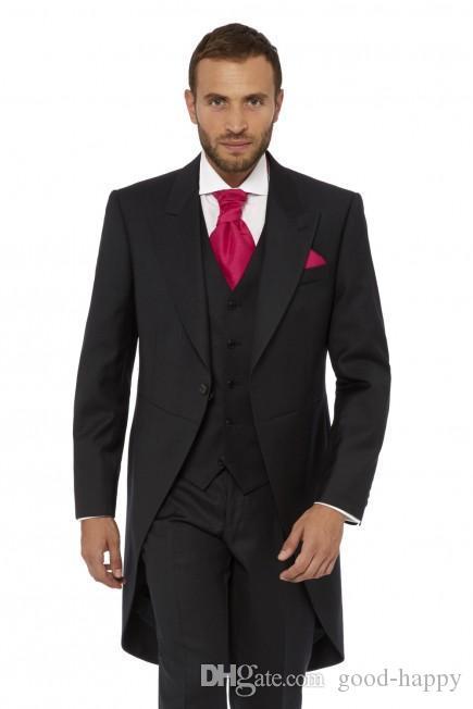 Boda pico solapa Centro Vent Negro Tailcoat novio esmoquin La mañana del desgaste de hombres juego de los hombres Prom Party Cena (Jacket + Pants + Tie + Vest) 1110