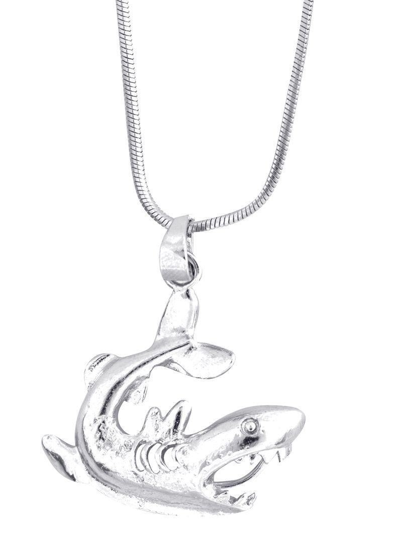 gran tiburón blanco de aleación Encantos Colgantes Joyería Hágalo usted mismo Accesorios 13x25mm 10 un