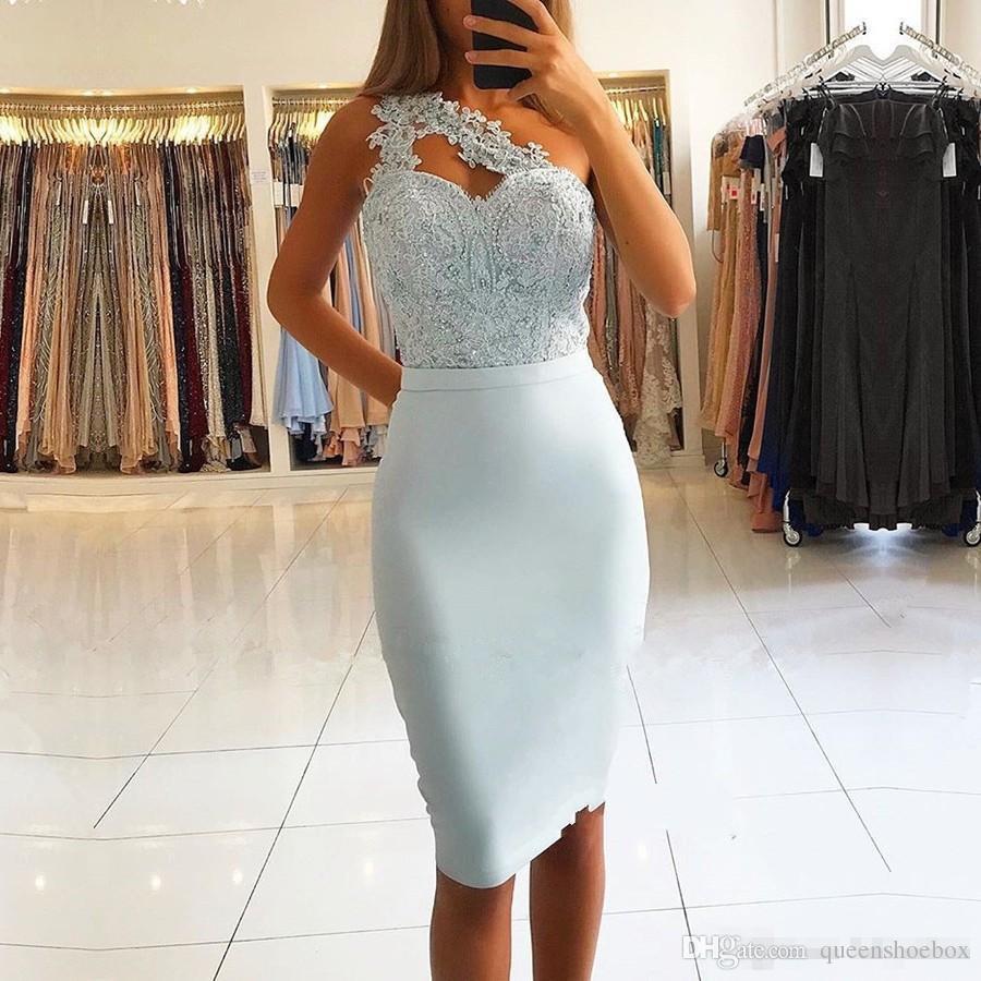 Sky Blue Bainha Vestidos de Cocktail 2019 Elegante Um Ombro Apliques de Lantejoulas Mini Curto Prom Vestidos de Noite Custom Made vestidos