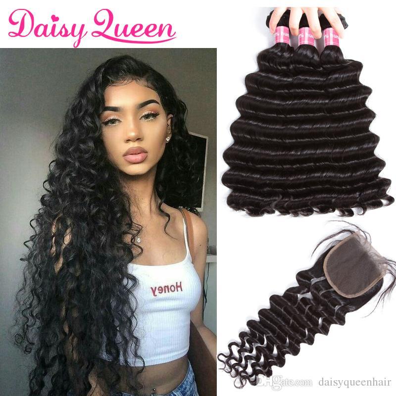 Loose Deep Wave Peruvian 3 Bundles With Closure Brazilian Virgin Hair Bundles With Closure Indian Human Hair Weave Bundle With Lace Closure