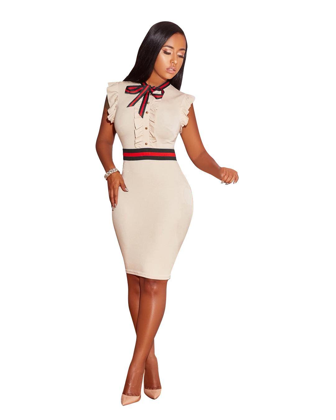 583cc245278e6 2018 2018 Women'S Dress Bow Sexy Dress Spring Summer Short Sleeved Ladies'  Dress New Patchwork Work Office Dresses S 3xl From Hengda999, $11.06 | ...
