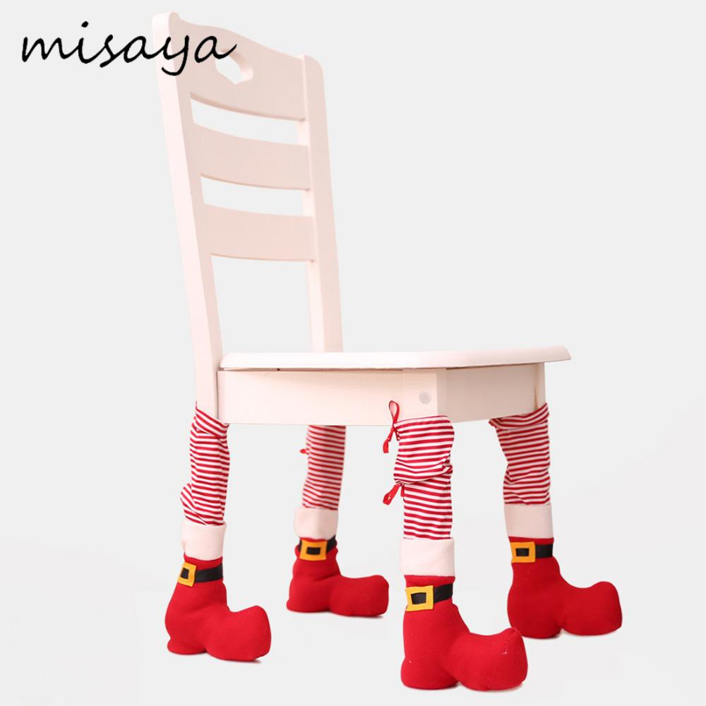 Misaya 1PC Christmas Chair Socks Decoration Strip Dinner Party Chair Socks Cover Decorative For X Mas Table Foot Stocking
