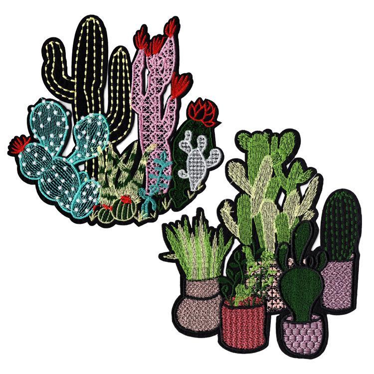 GUGUTREE ricamato patch grande cactus patch cerotti patch applique patch per abbigliamento