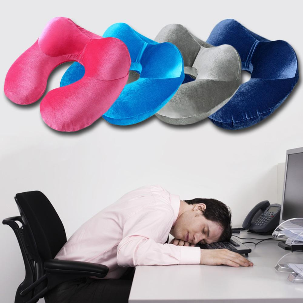 Wholesale- 4 Colors Inflatable U-Shape Neck Pillow for Airplane Office Sleep Portable Travel Pillows Velvet Fabric Cushion Accessory