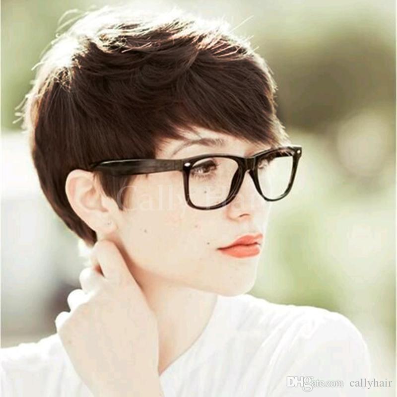 Монолитный короткий парик пикси вырезать ни кружева машина 100% бразильский человеческих волос 4-6 дюймов прямо для черной женщины