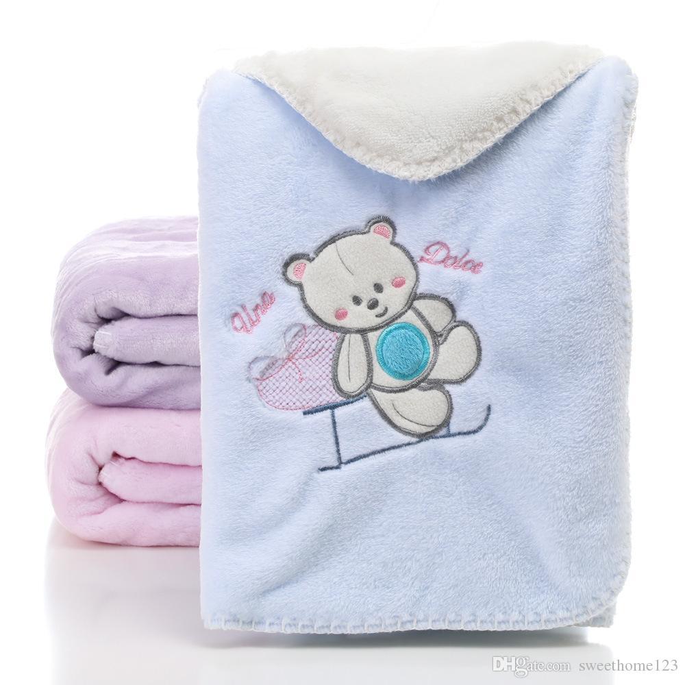 3 цвета Ins Style 2 слоя одеяло новорожденного Мягкий коралловый флис Одеяло для вышивки животных 80 * 100см Фланелевое детское одеяло