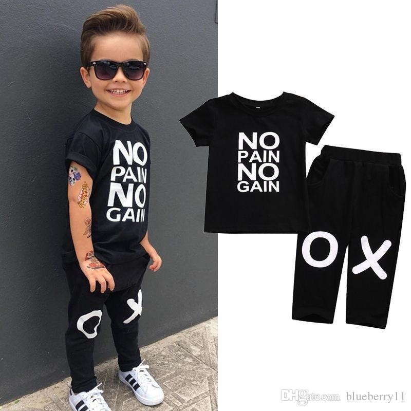 Summer Suit Kids Baby Boy Outfits Short Sleeve No pain no gain Letters Printed T-shirt Top Pants Black Children Clothing 2 pcs Sets