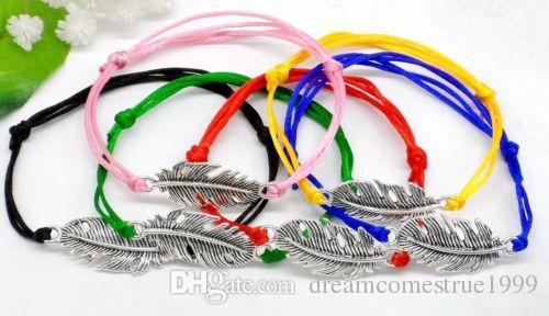50pcs / lot chanceux string plumes charmes chanceux cordon rouge bracelet réglable bijoux bricolage nouveau cadeau