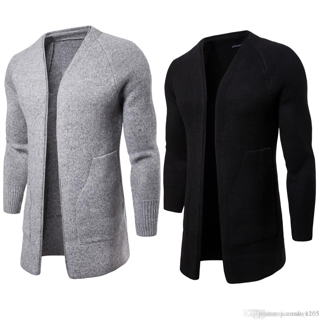 Новый конструктор свитера кардигана Мень V-образным вырезом Длинный свитер с длинным рукавом высокого качества хлопка Смешать Вязаная зима Mens свитер для продаж