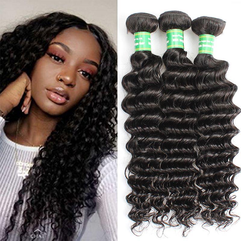البرازيلي موجة عميقة مجعد العذراء الإنسان الشعر الحياكة 8A 100٪ غير المجهزة بيرو الماليزي الهندي موجة عميقة 3Bundles الشعر اللحمة