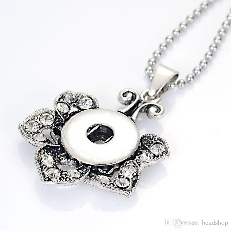 Neue Ankunft Kristall Blume Snap Chunk Charm Anhänger Halskette Mit Edelstahl Kugelkette Für Diy Frauen Halskette