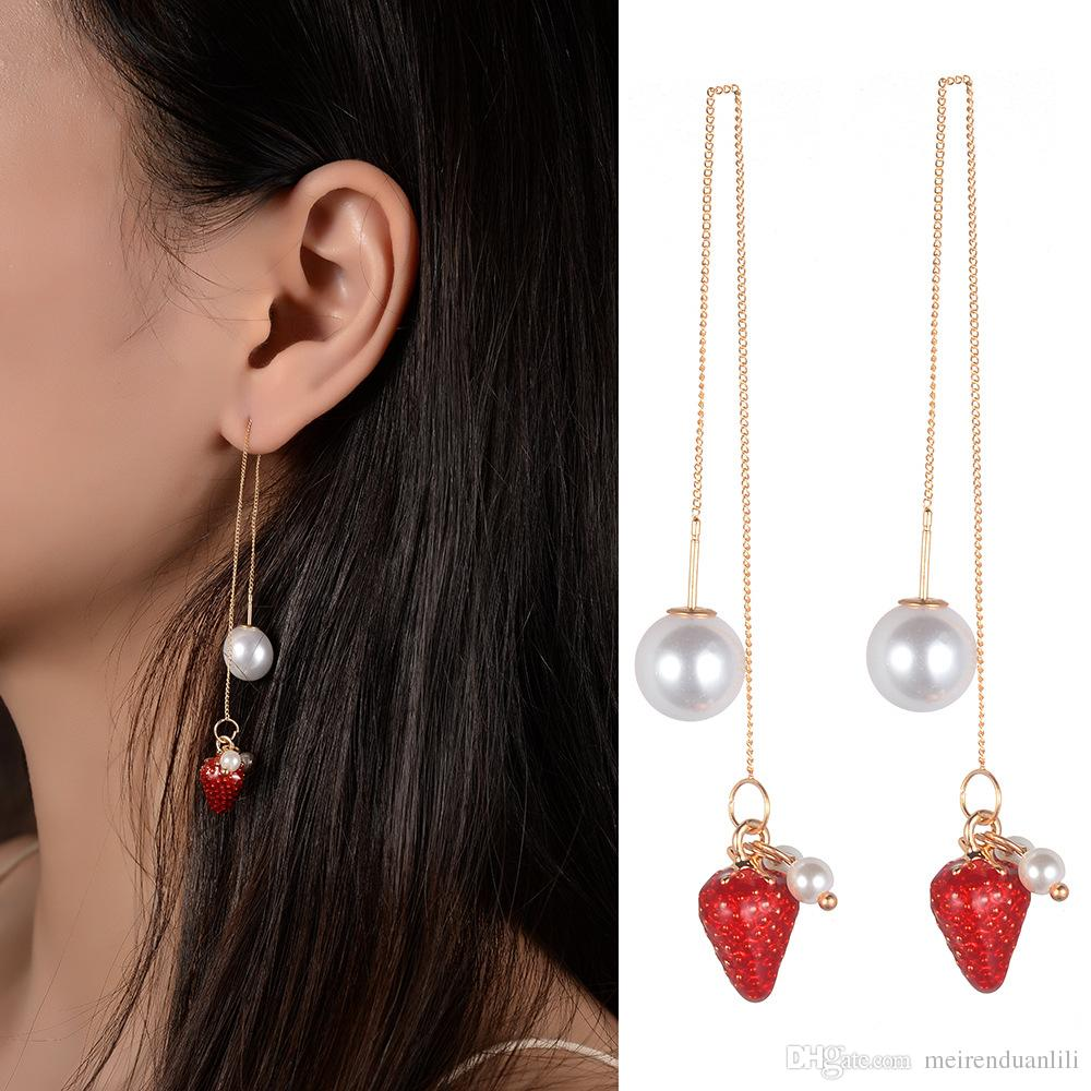 Cute Red Strawberry Drop Earrings for Women Wholesale Long Chain Drop Earrings Party Simulated Pearl With Strawberry Pattern Dangle Earrings
